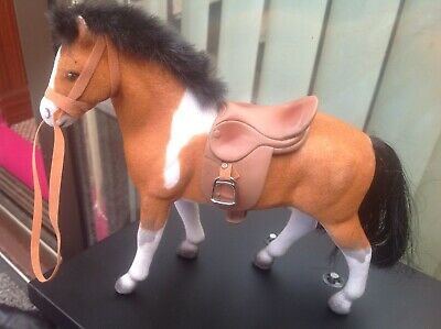 FELT FLOCKED TOY HORSE -Brown & white patches Saddle & Bridle