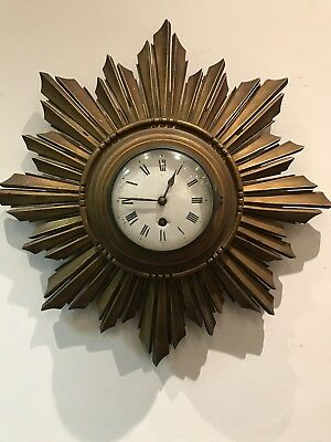 Art Deco Sunburst Wall Clock. Working Order.