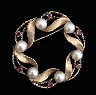 14K Gold Cultured Pearls Ruby Vintage Brooch Open Circle Wreath Pin 10g