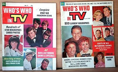 1967-1968 Dell lot 2 WHO'S WHO IN TELEVISION Magazine THE MONKEES 1968-1969 vg