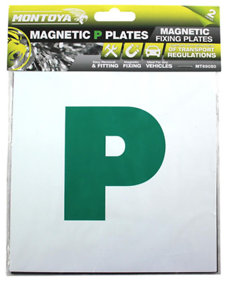 2 Pcs Magnetic New Driver P Plate Exterior Car Secure Safe Exterior Signs New
