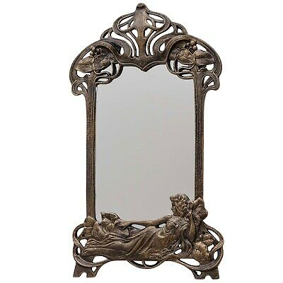 Wall mirror vanity cosmetic art nouveau iron antique style 50cm