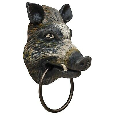 Towel holder towel rail wild boar head figure iron antique style 18cm