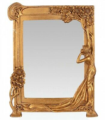 Mirror table mirror cosmetic mirror woman plant art nouveau iron antique style