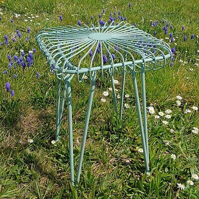 Flower stool garden stool seat metal antique style green 44cm