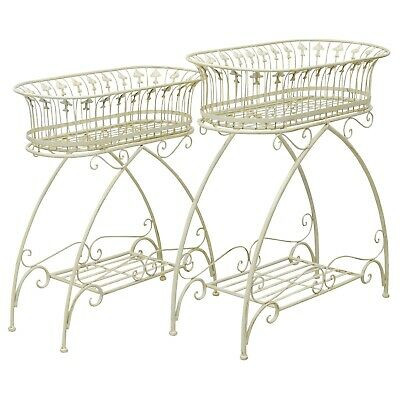 Pair planter flower stand flower tub garden antique style white raised bed