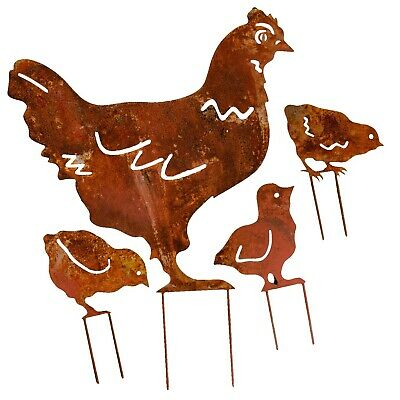 Set of 4 garden stake bed chicken fledgling iron rusty antique style 48cm