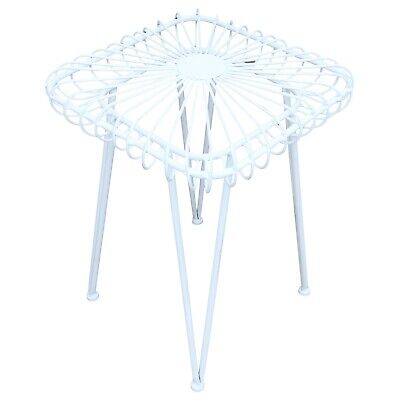 Flower stool garden stool seat metal antique style white 44cm