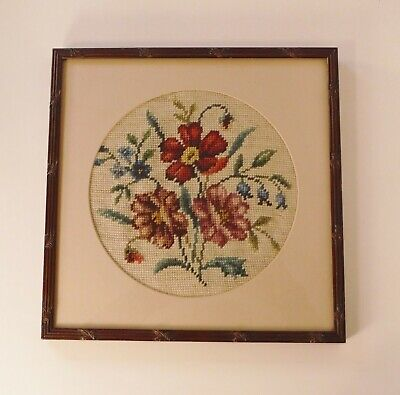 Vintage Completed & Nicely Framed Glass Cover Floral Needlepoint 12 3/4 x 12 3/4