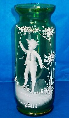 """Antique Victorian MARY GREGORY Vase Hand Blown Green Glass 8"""" ca.1880-90s"""