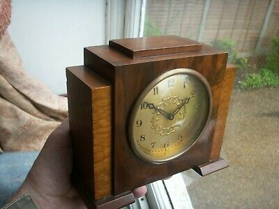Old Antique Art Deco Walnut Mechanical 1930s Wooden Clock Marked I in Star Mark