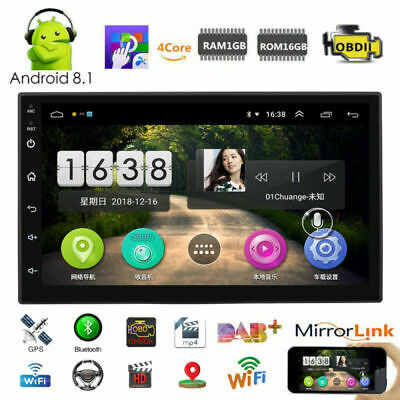 """7"""" Android 8.1 Car Stereo WIFI GPS Navigation Radio MP5 Player 4-Core Dual Din"""
