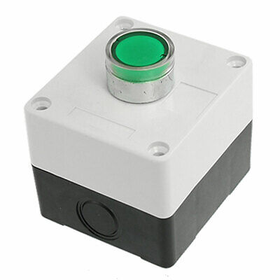 AC 110V Green Signal Light NO Momentary Push Button Switch Station Box