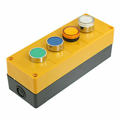 AC 110V Yellow White Signal Lamp Cap Momentary Push Button Switch Station