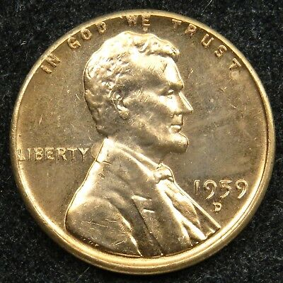 1959 D  Uncirculated Lincoln Memorial Cent Penny BU (B05)
