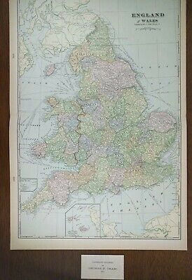 """Vintage 1903 ENGLAND WALES Map 14""""x22"""" ~ Old Antique SWANSEA LONDON CARDIFF"""