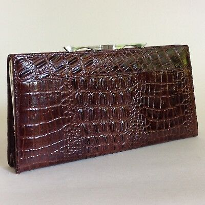 Brown Leather Moc Croc 1950s Vintage Large Coin Purse Wallet Leather Lined