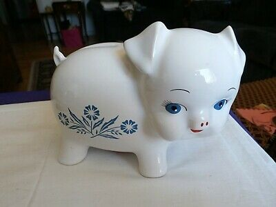Vintage Corning Ware Cornflower Blue & White Piggy Bank England