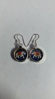 Hand Painted Miniature Art Painting Indian Lovely Elephant Earring Pair