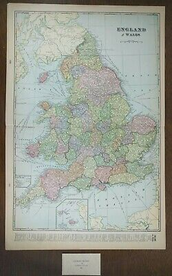 "Vintage 1901 ENGLAND WALES Map 14""x22"" ~ Old Antique LIVERPOOL MANCHESTER"