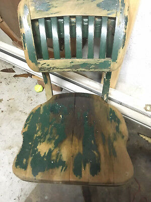 Vintage Wooden Desk Chair Swivel Adjustable  backrest  Steampunk
