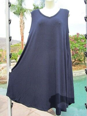 NEW Zenana Premium dress sundress V-neck stretch M navy sleeveless pockets