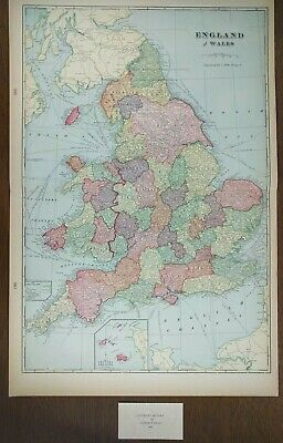 "ENGLAND WALES 1900 Vintage Atlas Map 14""x22"" Old Antique LONDON CARDIFF BRITAIN"