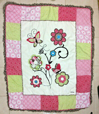 Cocalo Baby Blanket Comforter Flower Butterfly Green Brown 30x40 Quilt