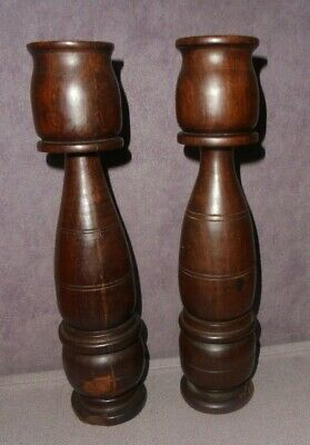 African Hand Carved Candlesticks