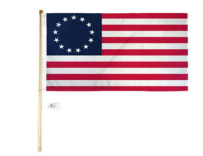 5' Wood Flag Pole Kit Wall Mount Bracket With 3x5 Betsy Ross Polyester Flag