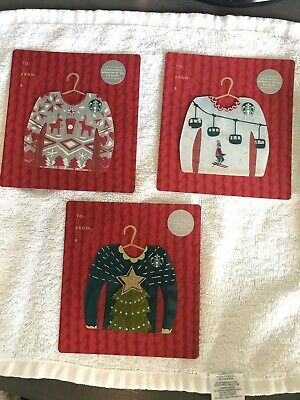 Starbucks 2016 Ugly Christmas Sweater Gift Cards Complete Set of 3 NO VALUE