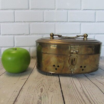 Vintage Footed Brass Cricket Box Oval Hinged Handle Latch Trinket Storage India