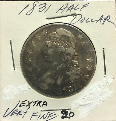 Rare 1831 Capped Bust Half Dollar, Large, Nice, Silver, Early Type Coin VF