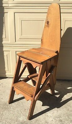 Antique 3 in 1 Wooden Folding Chair, Ironing Board & Step Ladder