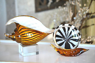 Pair Vintage Murano Art Glass Sea Shell And Snail Shell