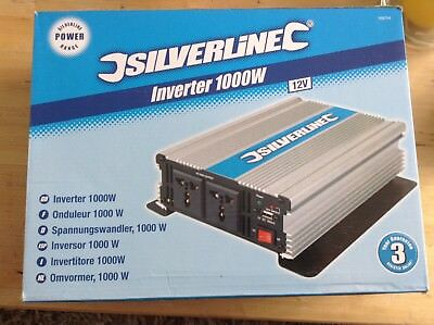 Silverline Inverter 1000w (12volt)-For use in Cars, Caravans, Boats & Workshops
