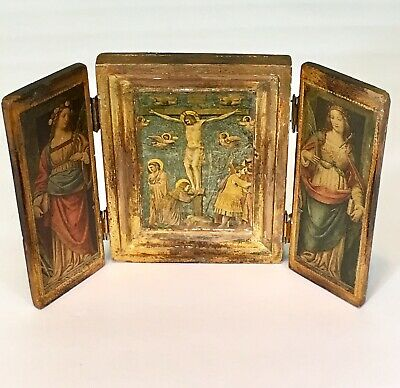 Vintage Small Religious Giotto Crucifissione Sienne Folding Wood Frame Picture