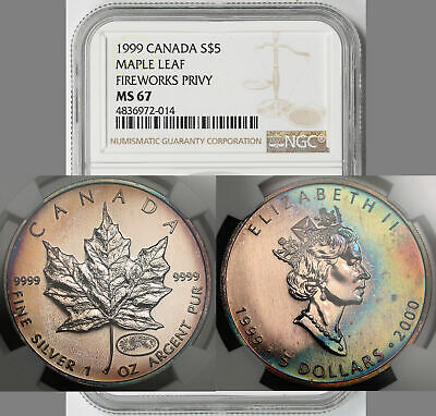 1999 Fireworks Privy Mark Canada Maple Leaf Silver $5 MS 67 NGC 1999-2000 Toned