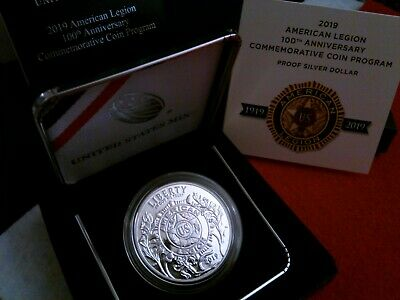 2019 P American Legion 100th Anniversary Proof Silver Commemorative w/Box + COA