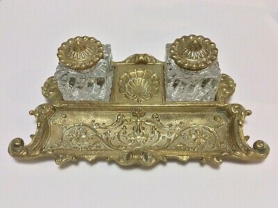 Vntg Art Nouveau Ornate Brass & Crystal Double Inkwell