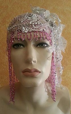 Gatsby Pink Waterfall Bead Silver Sequin Crystal Flapper Headpiece Hat Bridal