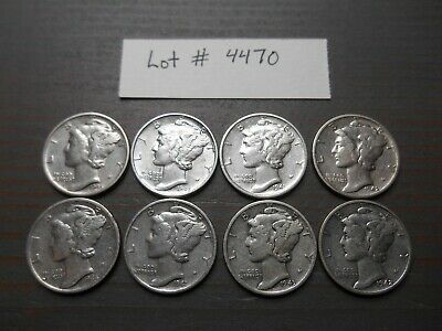 Lot Of 8 Mercury Dimes - Mixed Dates - Average Circulation #4470