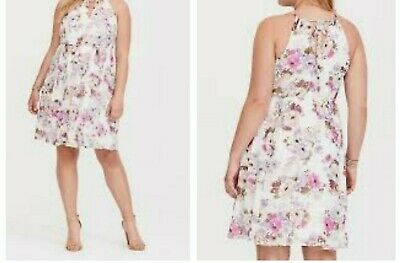 196f08dffb2 Torrid Ivory Floral Chiffon High Neck Skater Mini Dress 00X Med Large 10   74876
