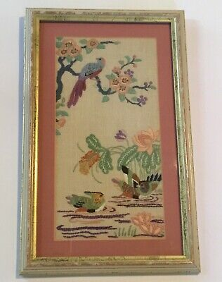 Framed Embroidery Art Birds Flowers Leaves Pink Gold Wood Frame Pink Mat Glass