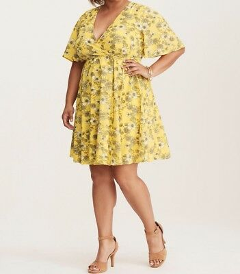 531946568fb TORRID FLORAL DRESS 14 16 20 26 Yellow Georgette Wrap Floral Wide ...