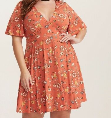 cf54ce4e9aa Torrid Orange Floral Print Flutter Sleeve Dress 00X Med Large 10  24285