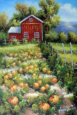 Pumpkin Patch Farm Halloween Red Barn Stretched 24X36 Oil On Canvas Painting