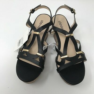 9a34b9ff1126 Stevies Girls Size 1 Shoes Wedge Sandals Black living4theweekend Steve  Madden