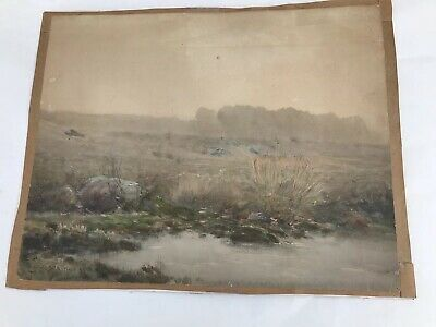"""Vtg Watercolor by James Henry Moser [1854-1913] """"Afternoon Rain"""" Mass 1893"""