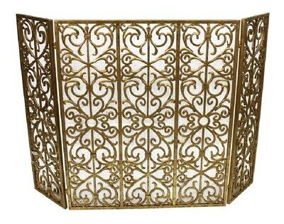 Ornate Italian Gold Scrolled Fireplace Fire Screen With Mesh Old World Scolls